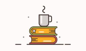 本とカップ